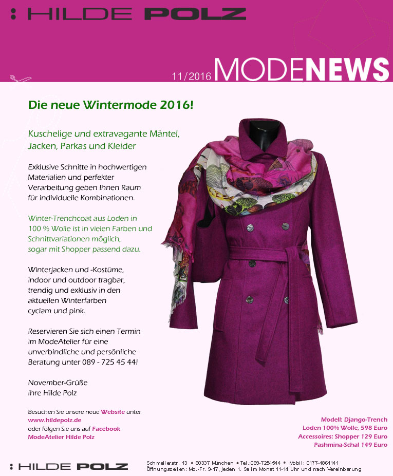 neue Wintermode 2016, Maßschneiderei, Damenmode, Businessmode, pink Trenchcoat,