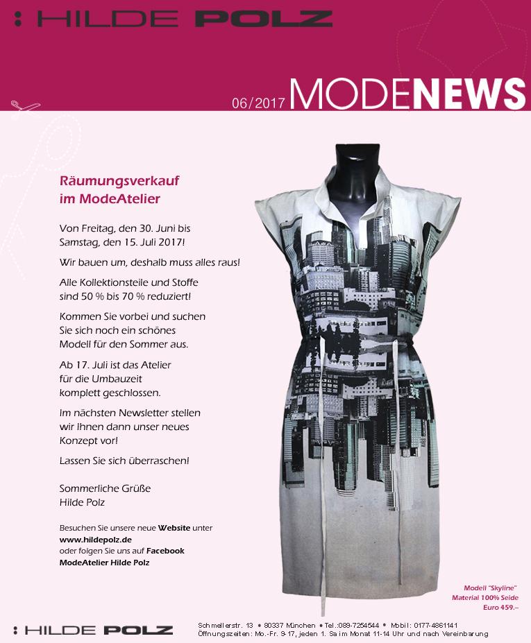 Räumungsverkauf im ModeAtelier Hilde Polz, Sommerschlussverkauf,