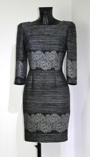 festliches etuikleid grau silber schwarz
