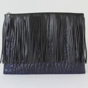 Clutch mit Fransen dunkelblau schwarz Krokostyle