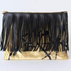 Clutch mit Fransen gold schwarz Seidensamt