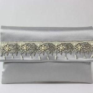 Clutch, silbergrau mit Perlenstickerei, Online-Shop, Shop, Accessoires,