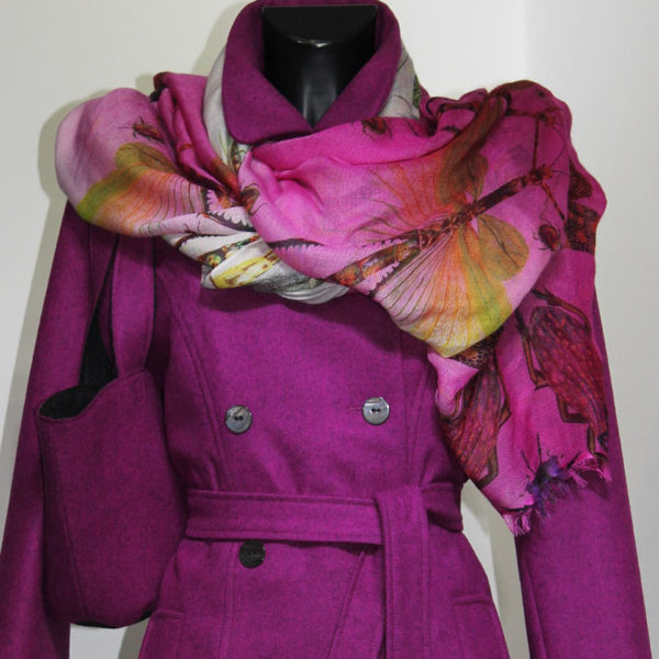 Wintermode, Wintermantel, Lodenmantel, große Farbauswahl, Trenchcoat, Shopper, reine Wolle, pink, cyclam, Tasche pink, Pashminaschal,