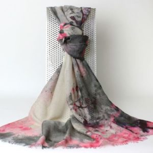 Pashmina Schal, Pashmina Stola, Kaschmir und Seide, Design Grafik, grau, rosa, creme,