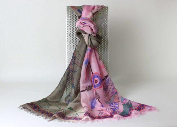 Pashmina Schal Design Federn, Pashmina Stola aus Kaschmir und Seide, rosa, taupe, viele Farben,