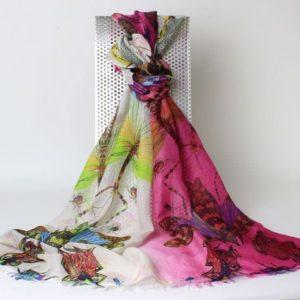 Pashmina Schal, Pashmina Stola Kaschmir und Seide, Design Libelle, pink, gelbgrün, creme, alle Farben,